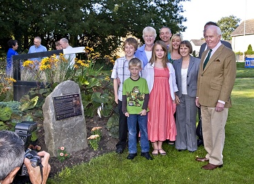 Gordon's family next to the plaque dedicating Lock 17 to his memory in 2009.