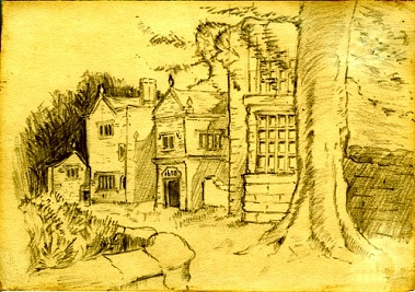 A drawing of the rear of the hall by Kathleen Isherwood