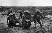 British stretcher bearers near Bossinghe, 1 Aug 1917