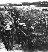 "Preparing to ""hop the bags"" outside Beaumont Hamel. 1st Battalion, Lancashire Fusliers. 1-Jul-1916"