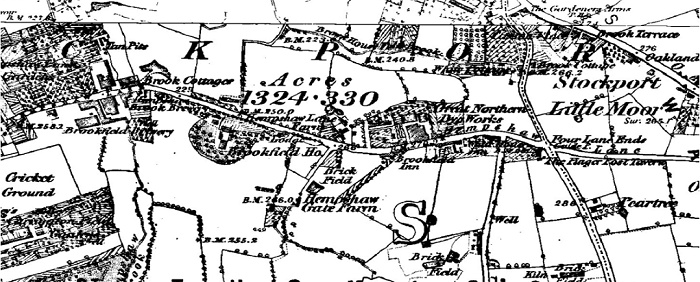HEMPSHAW GATE, STOCKPORT, 1875 map
