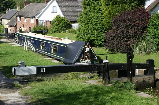 A narrowboat passing through Lock 11