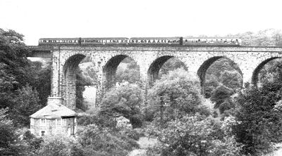 Marple Goyt Viaduct with a Hayfield-Manchester d.m.u. crossing in June 1968 (I. R. Smith)