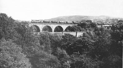 A down limestone train from the Peak hauled by a class 25 diesel rumbles over Marple Viaduct on the evening of 12th August 1979.