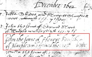 John's entry in the register of births.